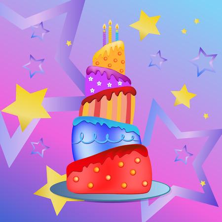 colorful happy birthday cake  illustration Vector