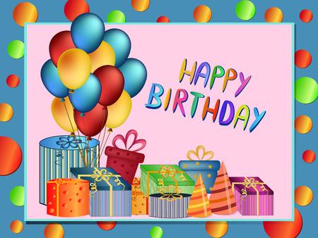happy birthday balloons: colorful happy birthday balloons and  present illustration Illustration