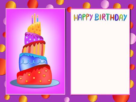 pastel feliz cumplea�os: colorido pastel de cumplea�os feliz ilustraci�n