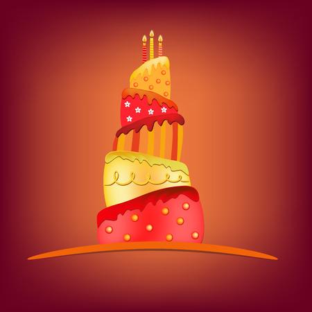 happy birthday cake: rojo amarillo pastel de cumplea�os feliz ilustraci�n