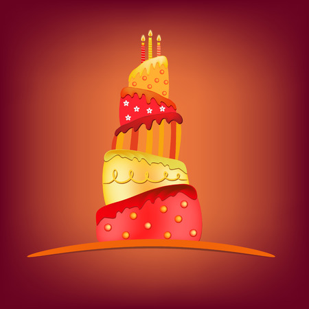 pastel feliz cumplea�os: rojo amarillo pastel de cumplea�os feliz ilustraci�n