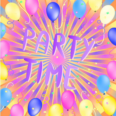 colorful party time words illustration