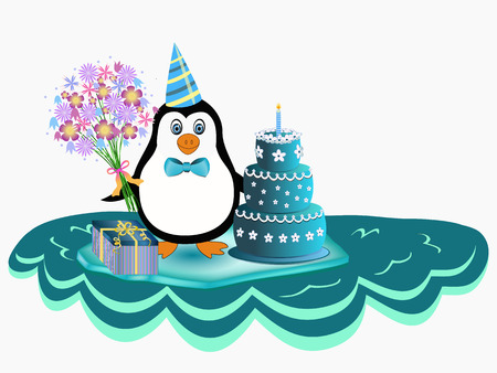 cute penguin over iceberg with flowers, cake and present in hands Vector