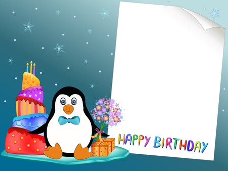 cute penguin with present, cake and flowers illustration Vector