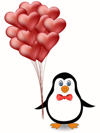 cute penguin with red heart balloons illustration Vector