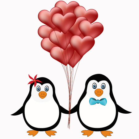 cute penguins with red heart balloons illustration Vector