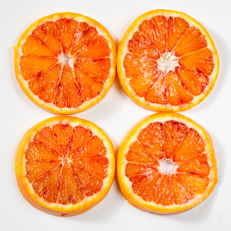 filtered: detail red orange slices image retro filtered effect Stock Photo