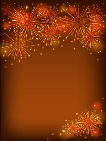 colorful fireworks over dorange background photo