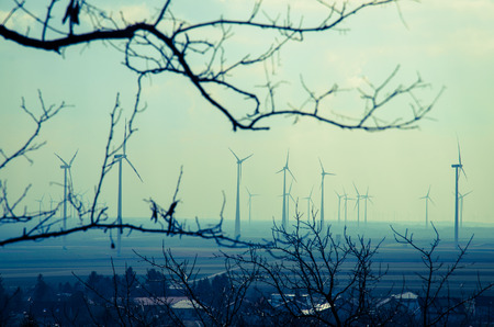 subset: several windmills and village image
