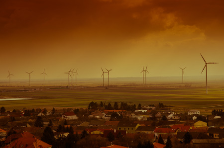 subset: windmills and village image retro effect Stock Photo