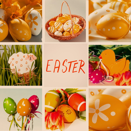 easter collage from easter eggs and decorations photo