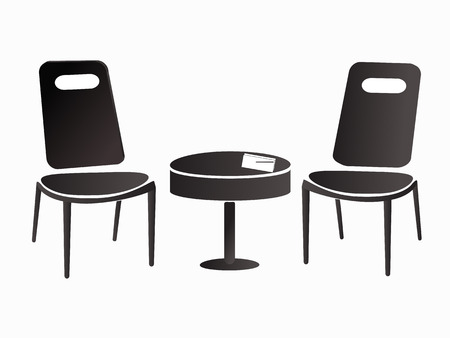 opposite chairs on white background 向量圖像