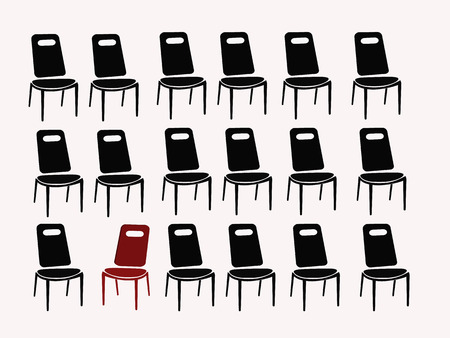 black chairs and red chair vector illustration Illustration