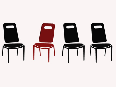 standout: black chairs and red chair vector illustration Illustration
