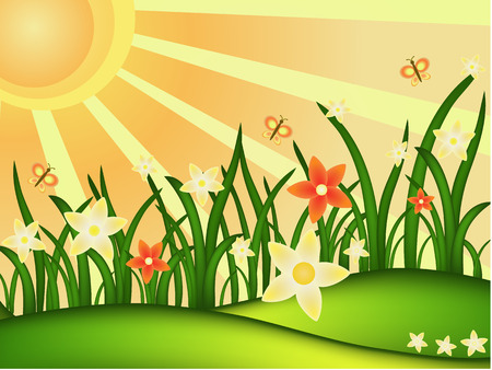 sunny spring meadow vector illustration Vector