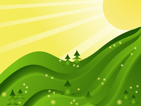 yellow hills: sunny spring meadow vector illustration
