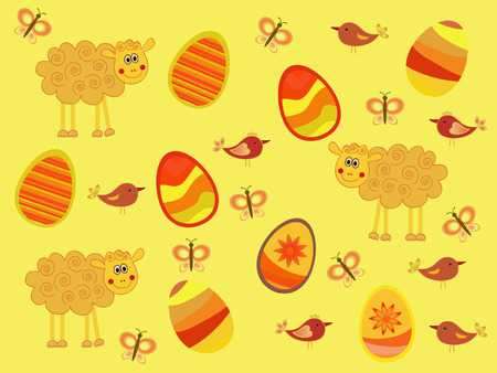 easter rabbit, sheep, egg on colorful background Vector