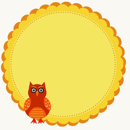 orange owl illustration in a circle frame Vector