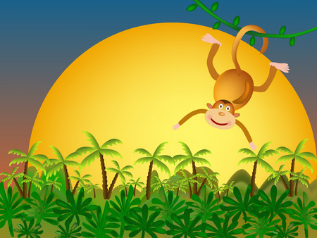 monkey and palms and yellow sunset Vector