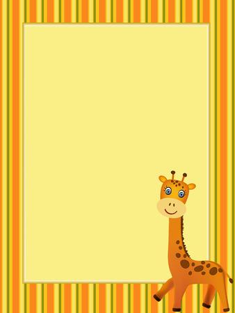 giraffe frame: frame with smiling giraffe illustration Illustration
