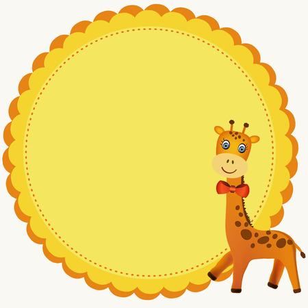 giraffe frame: frame with colorful smiling giraffe