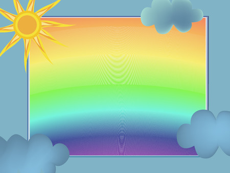 green day baby blue background: frame with blue clouds, sun and rainbow Illustration