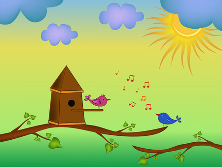 singing bird: singing bird cartoon and sky illustration Illustration