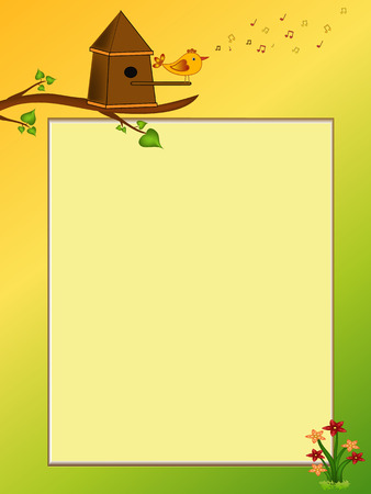 singing bird: singing bird cartoon  illustration frame Illustration
