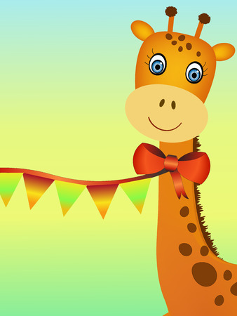 smiling giraffe illustration party concept Vector