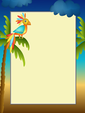green day baby blue background: frame with colorful parrot and palm illustration