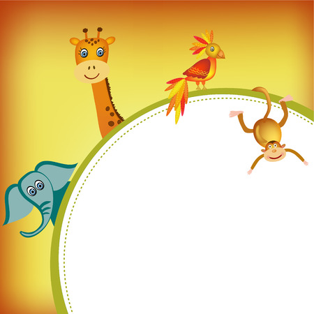 giraffe frame: parrot, giraffe, elephant and monkey frame illustration