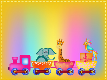 parrot, giraffe, elephant  in train frame illustration Vector