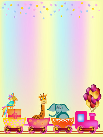 cartoon parrot: parrot, giraffe, elephant in train frame illustration