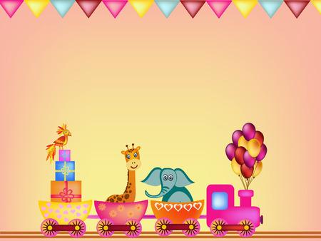 giraffe frame: parrot, giraffe, elephant and monkey in train frame illustration