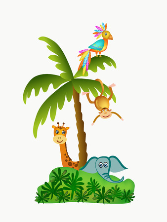parrot, giraffe, elephant and monkey illustration isolated Vector
