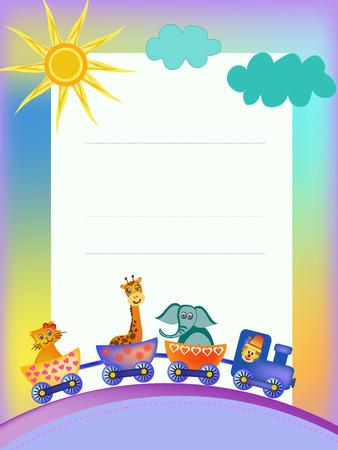 giraffe frame: parrot, giraffe, elephant in train frame illustration