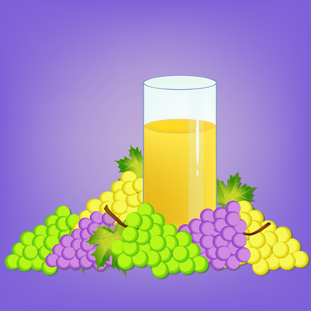 nectar: glass with grape nectar and grapes fruits illustration