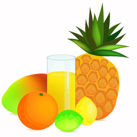 glass with colorful juice and tropical fruits illustration Illustration