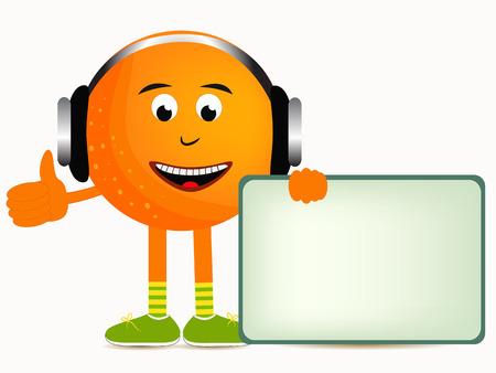 naranja caricatura: naranja naranja bandera ilustraci�n de dibujos animados