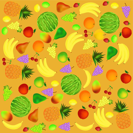 colorful healthy fruit cartoon icons background illustration