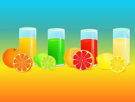 lemon, lime and orange refreshing drinks illustrations Vector