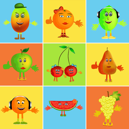colorful healthy happy fruit cartoon collage illustration Vector