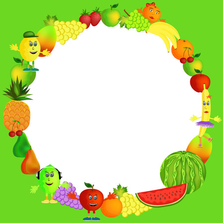 colorful healthy fruit background illustration Vector