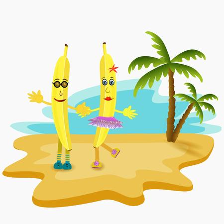 island cartoon: two yellow bananas dancing in the island cartoon illustration