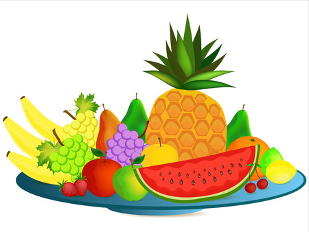colorful healthy cartoon fruit over plate Vector