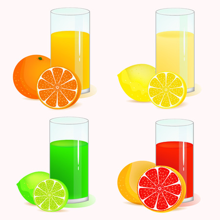 lemon lime: limone, lime e arancio bevande rinfrescanti illustrazioni