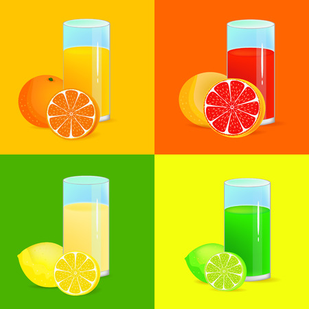lemon lime: lemon, lime and orange refreshing drinks illustrations Illustration