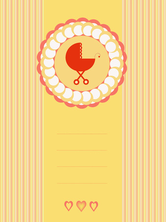 baby shower background with baby stroller Vector