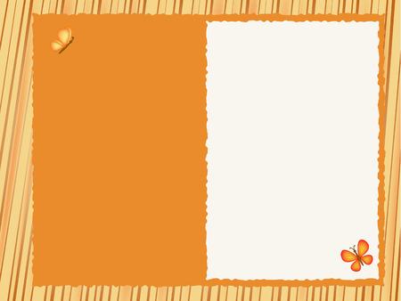 postcard background: orange postcard background illustration with butterfly