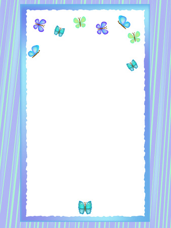 postcard background: blue postcard background illustration with butterfly